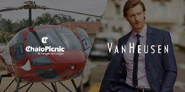 An adventurous helicopter ride along with an eGift card for Van Heusen for two