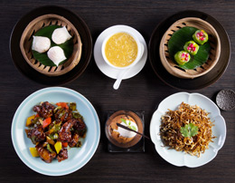 Signature set lunch menu - An exquisite four course curation featuring soup, dim sum, mains and dessert for one